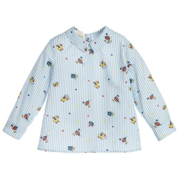 GUCCI Baby Boys Blue Striped Shirt