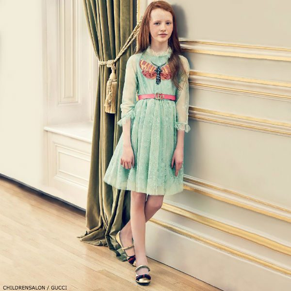 GUCCI Girls Pale Green Lace Dress with Belt