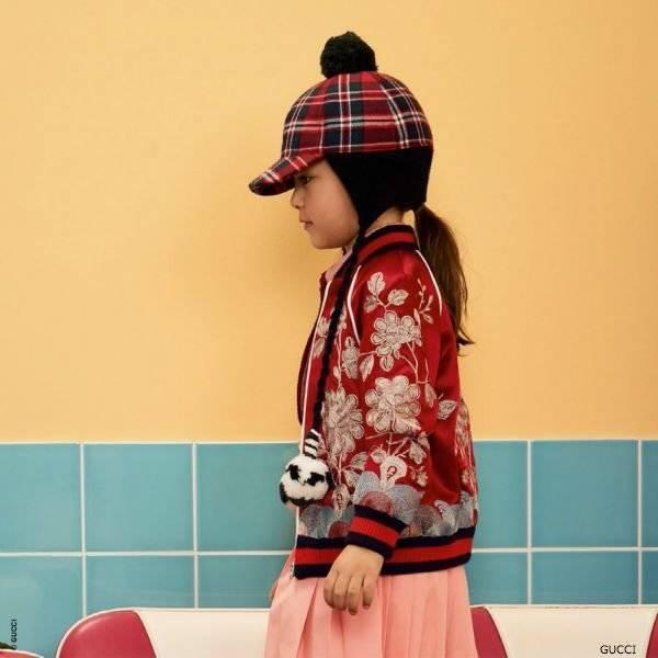 b54824d0 GUCCI Girls Mini-Me Red Satin Bomber Jacket
