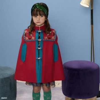 GUCCI Girls Red Wool Cape