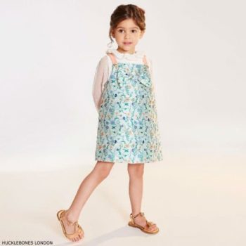 HUCKLEBONES LONDON Girls Floral Satin Dress