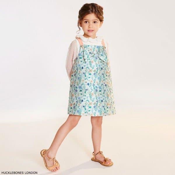 HUCKLEBONES LONDON Girls Floral Satin Dress