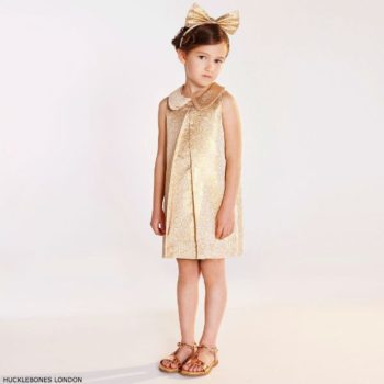 HUCKLEBONES LONDON Girls Gold Jacquard Dress