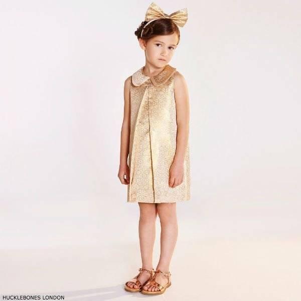 HUCKLEBONES LONDON Girls Gold Jacquard Dress