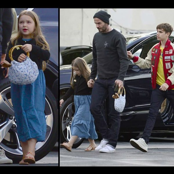 Harper Beckham Dinner in LA April 2018 David Romeo Beckham Harper Beckham - LITTLE MARC JACOBS Girls Black Bolero Star Cardigan