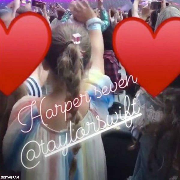 Harper Beckham at Taylor Swift Concert wearing CHLOE Girls Rainbow Silk Dress