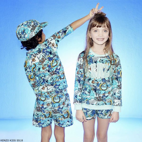 KENZO KIDS EXCLUSIVE EDITION UNDER THE SEA COTTON SWEATSHIRT & SHORTS