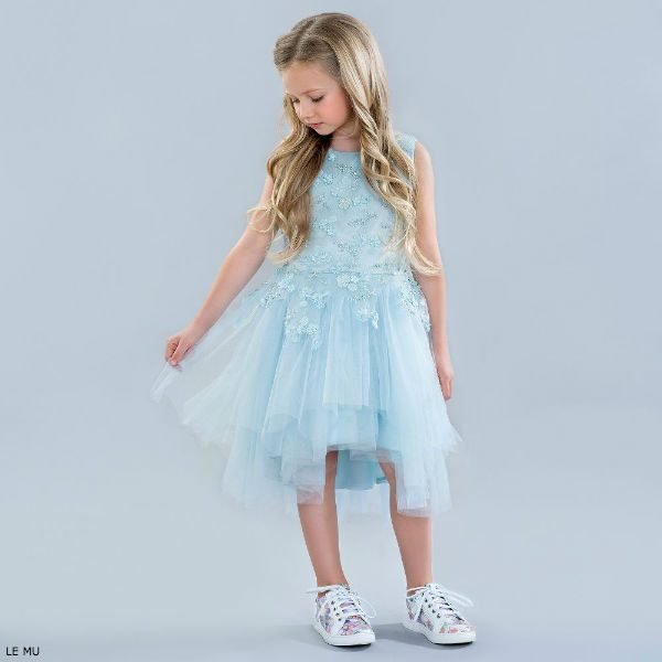 LE MU Blue Beaded Tulle Party Dress