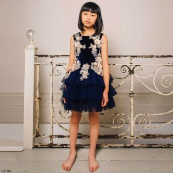 LE MU GIrls Navy Blue Velvet & Tulle Dress