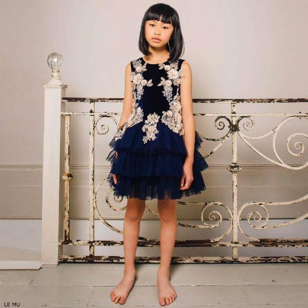 LE MU GIrls Navy Blue Velvet & Tulle Dress