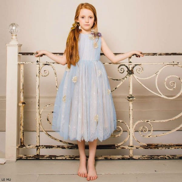 LE MU Girls Blue & Gold Tulle Dress