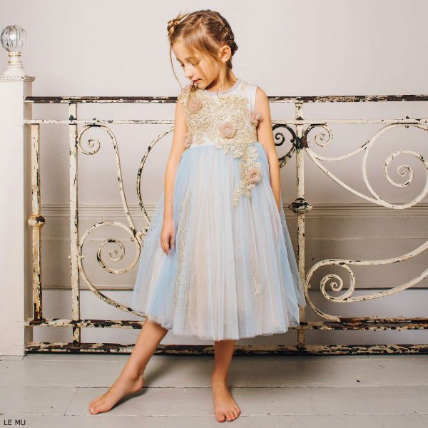 LE MU Girls Blue & Gold Tulle Party Dress