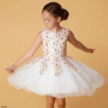 LE MU Girls Ivory Embroidered Party Dress
