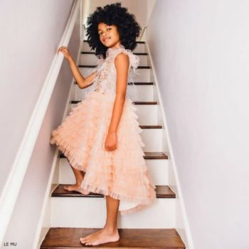 LE MU Girls Peach Pink Tulle Dress