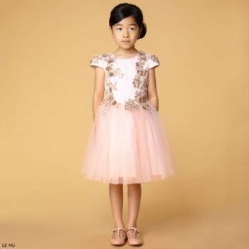 LE MU Girls Pink & Gold Tulle Party Dress