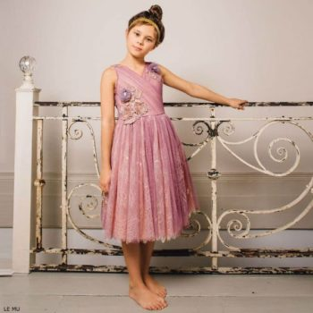 LE MU Girls Pink Tulle & Lace Dress