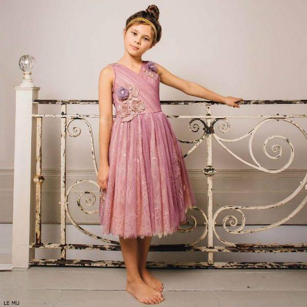 LE MU Girls Pink Tulle & Lace Dress
