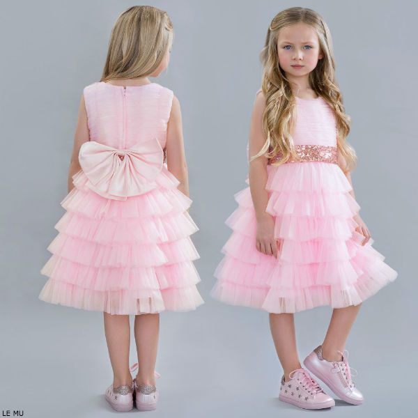 LE MU Pink Tulle Ruffle Party Dress