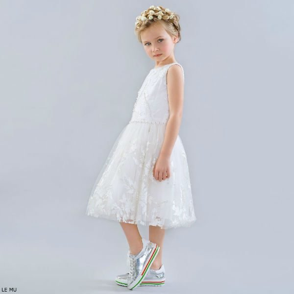 LE MU White Embroidered Pearl Party Dress