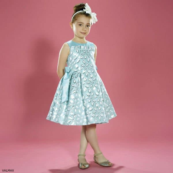 VALMAX Girls Turquoise & Silver Party Dress