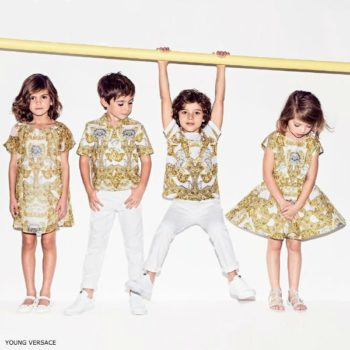 YOUNG VERSACE Girls Gold Baroque Dress & Boys Shirt