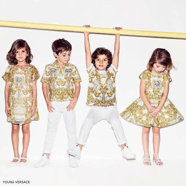 YOUNG VERSACE Girls Gold Baroque Dress & Boys Shirt