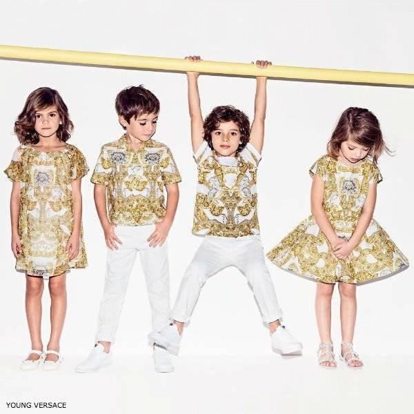 94c40504c04ae YOUNG VERSACE Girls Gold Baroque Dress   Boys Shirt