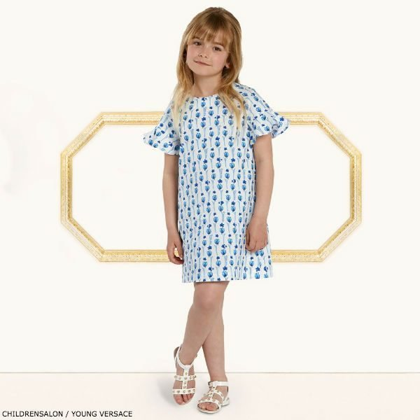 YOUNG VERSACE White & Blue Flower Dress