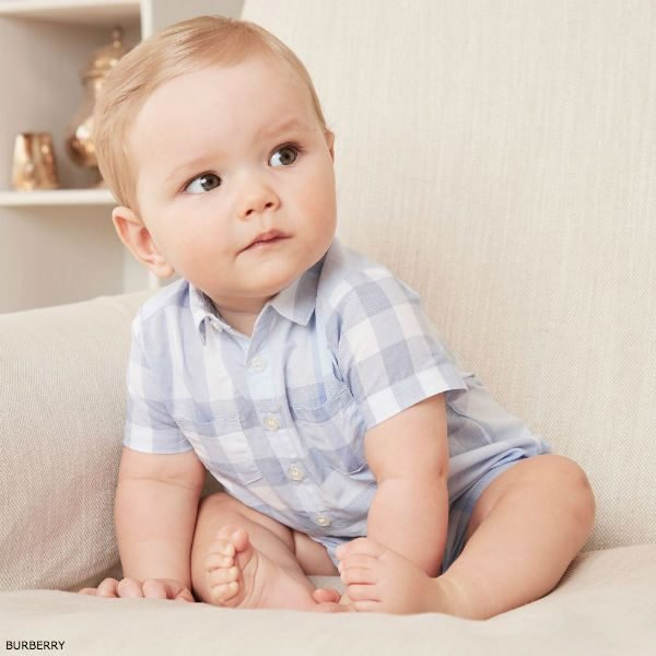 BURBERRY Baby Blue Check Kirk Shortie SS18