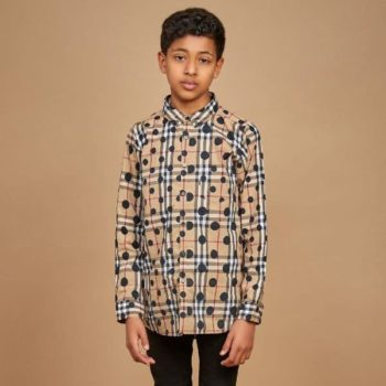 BURBERRY Boys Mini Me Check Mini Dot Fred Shirt