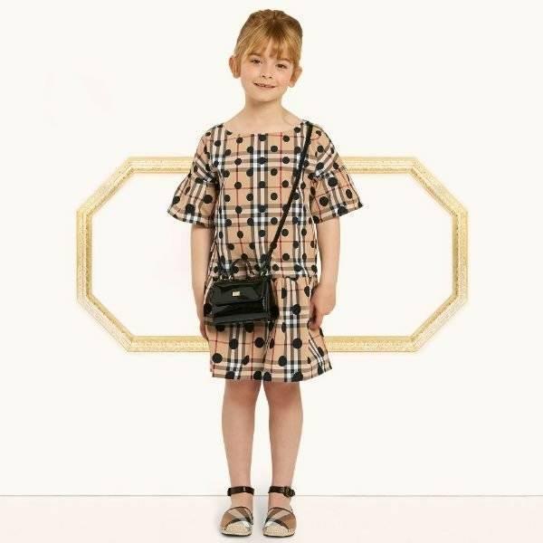 BURBERRY Girls Mini Me Polka Dot Check Anabella Dress