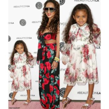 Chris Brown's daughter Royalty DOLCE & GABBANA Girls LA VIE EN ROSE Silk Dress Mom Nia Amey