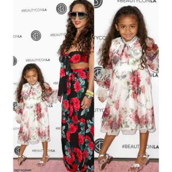 Chris Brown's daughter Royalty DOLCE & GABBANA Girls LA VIE EN ROSE Silk Dress Mom Nia Amey