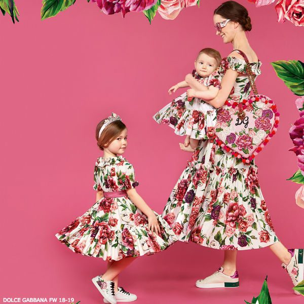 DOLCE GABBANA GIRLS MINI ME ROSETTO FLORAL PRINT DRESS FW 18-19