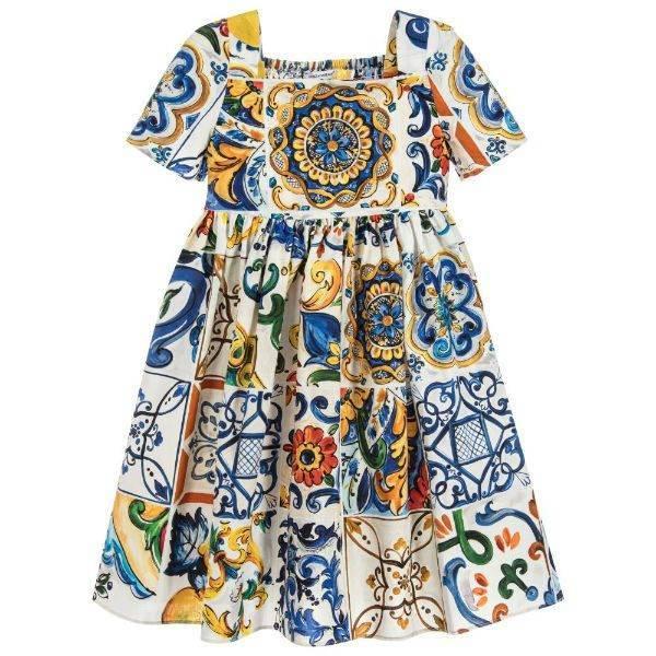 DOLCE & GABBANA Girls Cotton MAJOLICA Dress