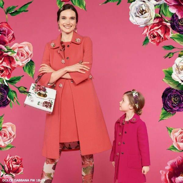 DOLCE & GABBANA Girls Mini Me LA VIE EN ROSE Wool Coat