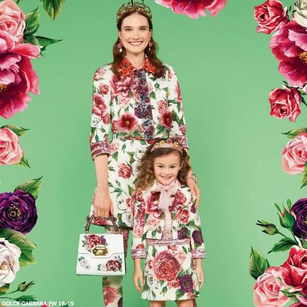 DOLCE & GABBANA Girls Romantic Peony Floral Shirt & Skirt