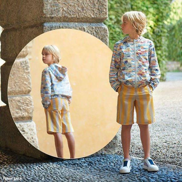 FENDI Boys Grey & Yellow Logo Jacket & Shorts