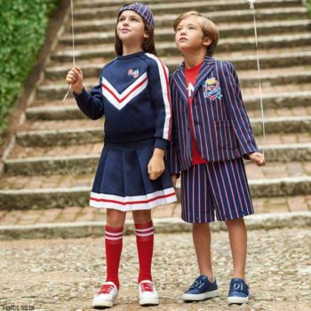 FENDI Girls Navy Blue Sweatshirt & Skirt Boys Striped Jacket