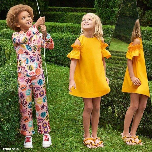 FENDI Girls Pom-Pom Print Shirt & Pants
