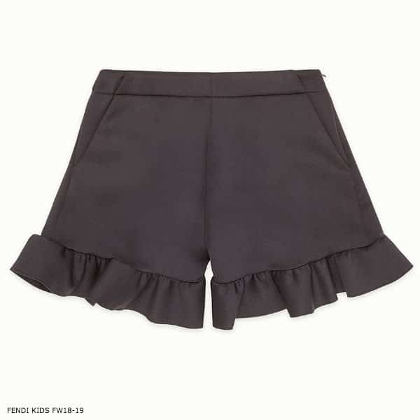 FENDI  Girl Black Scuba Shorts with Frilled Edges