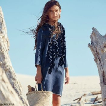 IL GUFO Girls Blue Denim Ruffle Dress