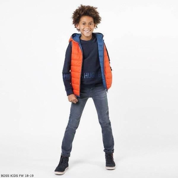 BOSS BOYS Reversible Blue & Orange Down Padded Vest