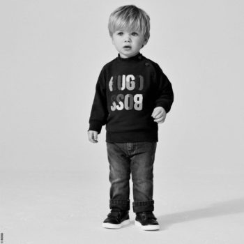 BOSS Baby Boys Navy Blue Cotton Logo Sweatshirt