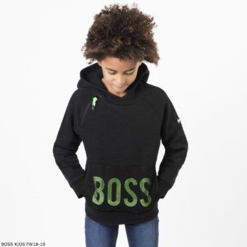 BOSS Boys Black & Green Logo Hooded Sweatshirt