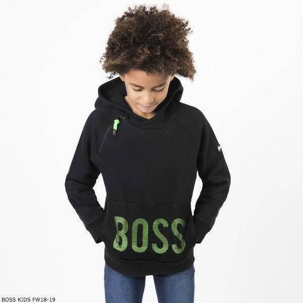 BOSS Boys Black & Green Logo Hooded Sweatshirt