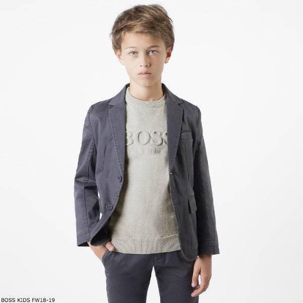 BOSS Boys Cotton Grey Knit Logo Sweater