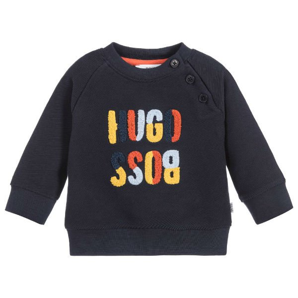 3ce3205524 BOSS Baby Boys Navy Blue Cotton Logo Sweatshirt | Dashin Fashion