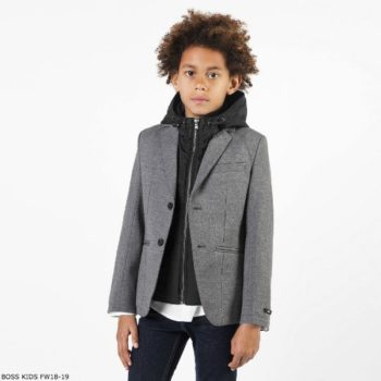 BOSS Boys Grey & Black Blazer Jacket with Hood