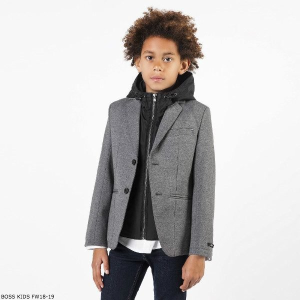BOSS Boys Grey & Black Blazer Jacket with Hood